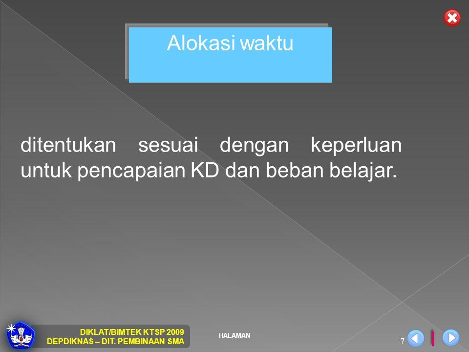 HALAMAN DIKLAT/BIMTEK KTSP 2009 DEPDIKNAS – DIT. PEMBINAAN SMA 7 Alokasi waktu ditentukan sesuai dengan keperluan untuk pencapaian KD dan beban belaja