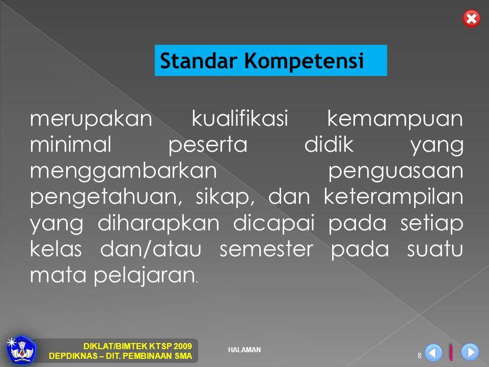HALAMAN DIKLAT/BIMTEK KTSP 2009 DEPDIKNAS – DIT. PEMBINAAN SMA 8 Standar Kompetensi merupakan kualifikasi kemampuan minimal peserta didik yang mengga