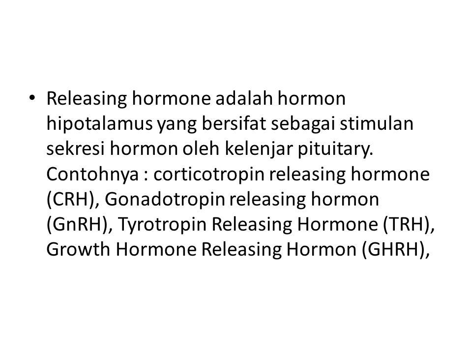 • Releasing hormone adalah hormon hipotalamus yang bersifat sebagai stimulan sekresi hormon oleh kelenjar pituitary.
