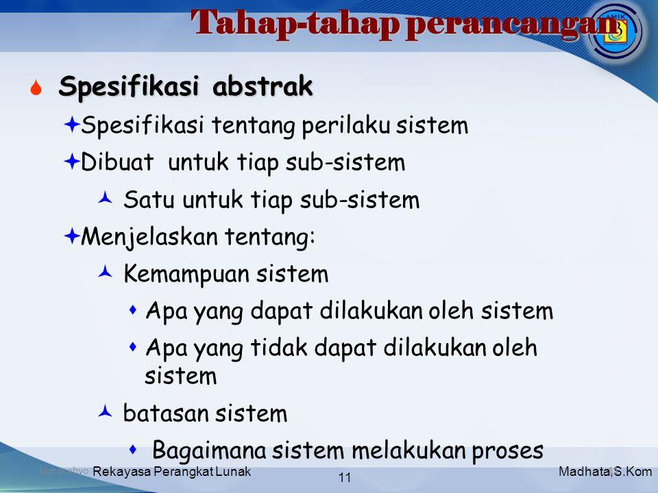 Madhata,S.KomRekayasa Perangkat Lunak 11 bimocahyo11 Tahap-tahap perancangan Spesifikasi abstrak  Spesifikasi abstrak  Spesifikasi tentang perilaku