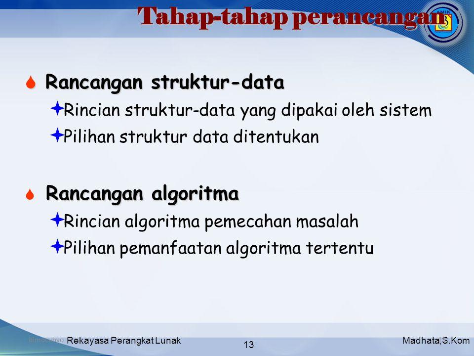 Madhata,S.KomRekayasa Perangkat Lunak 13 bimocahyo13 Tahap-tahap perancangan  Rancangan struktur-data  Rincian struktur-data yang dipakai oleh siste