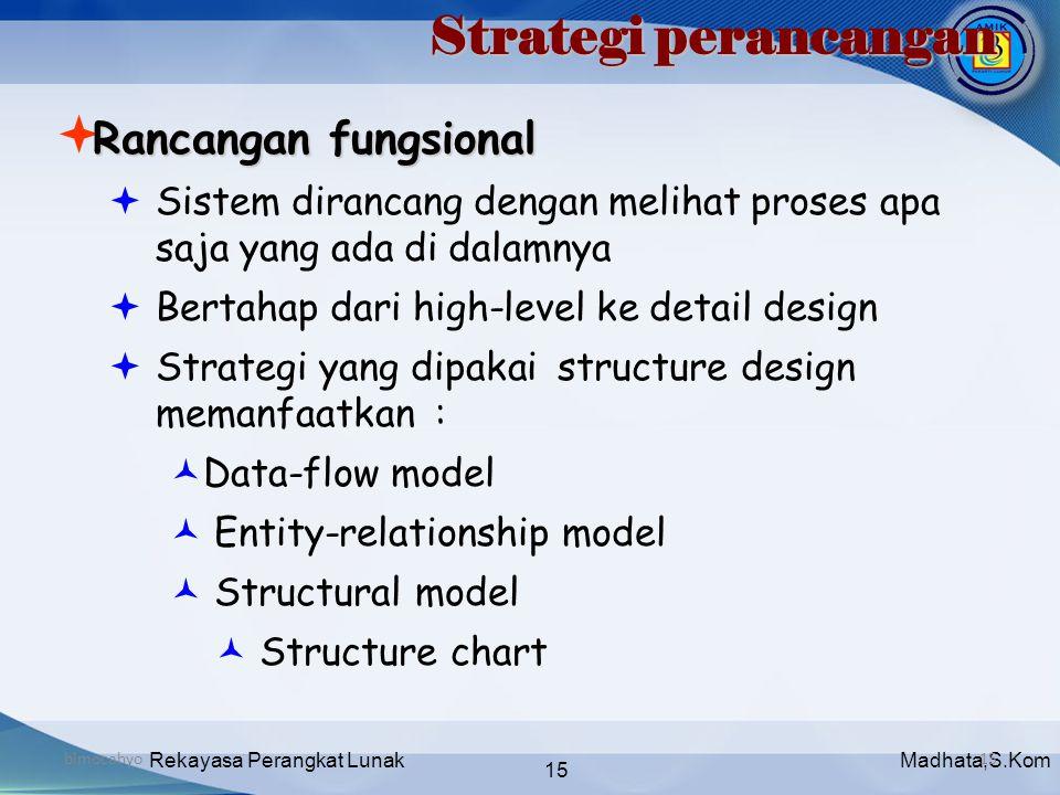 Madhata,S.KomRekayasa Perangkat Lunak 15 bimocahyo15 Strategi perancangan Rancangan fungsional  Rancangan fungsional  Sistem dirancang dengan meliha