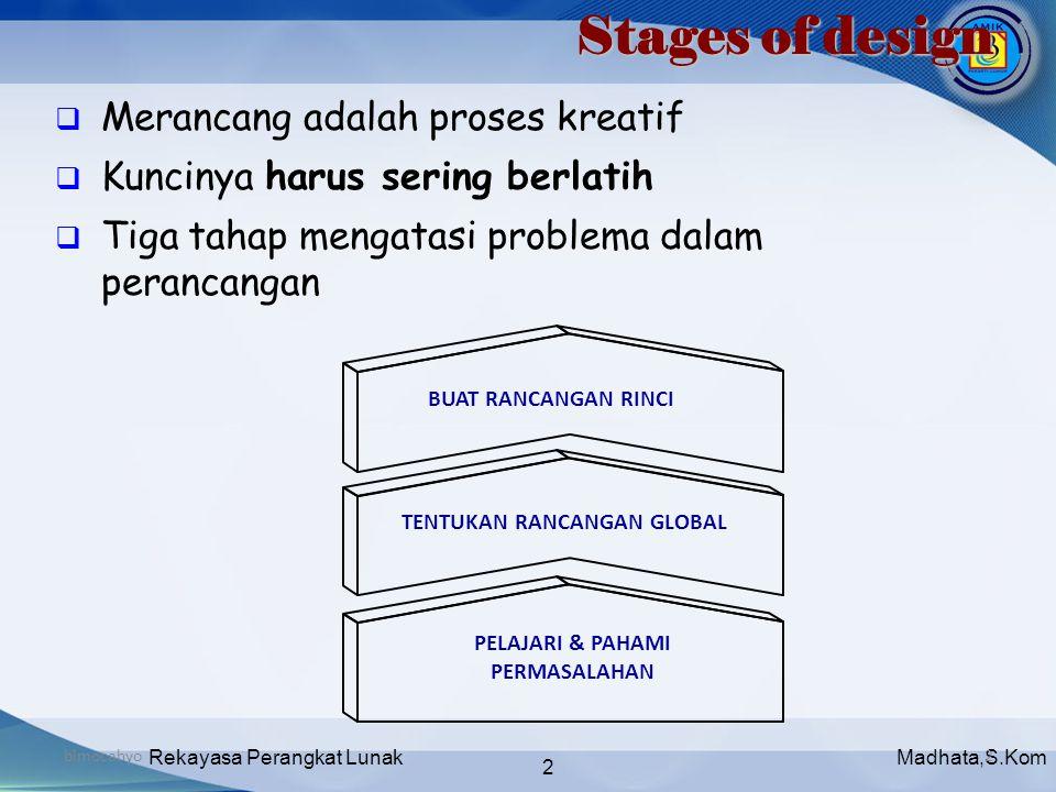 Madhata,S.KomRekayasa Perangkat Lunak 2 bimocahyo2  Merancang adalah proses kreatif  Kuncinya harus sering berlatih  Tiga tahap mengatasi problema