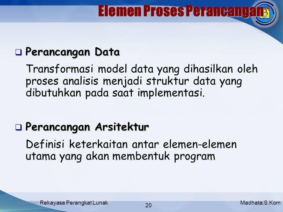 Madhata,S.KomRekayasa Perangkat Lunak 20 bimocahyo20 Elemen Proses Perancangan  Perancangan Data Transformasi model data yang dihasilkan oleh proses