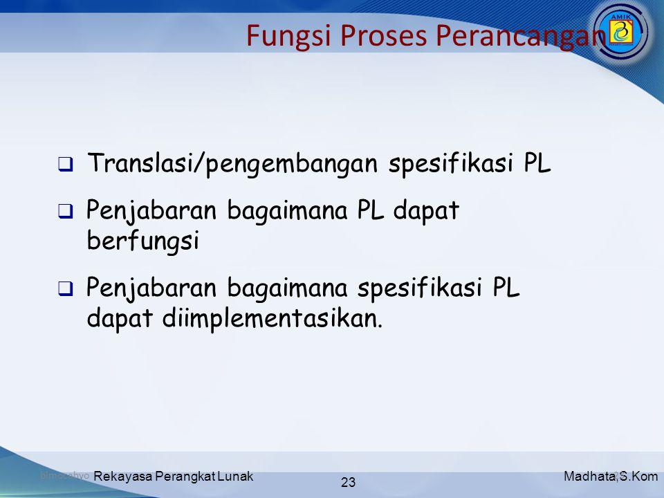 Madhata,S.KomRekayasa Perangkat Lunak 23 bimocahyo23 Fungsi Proses Perancangan  Translasi/pengembangan spesifikasi PL  Penjabaran bagaimana PL dapat