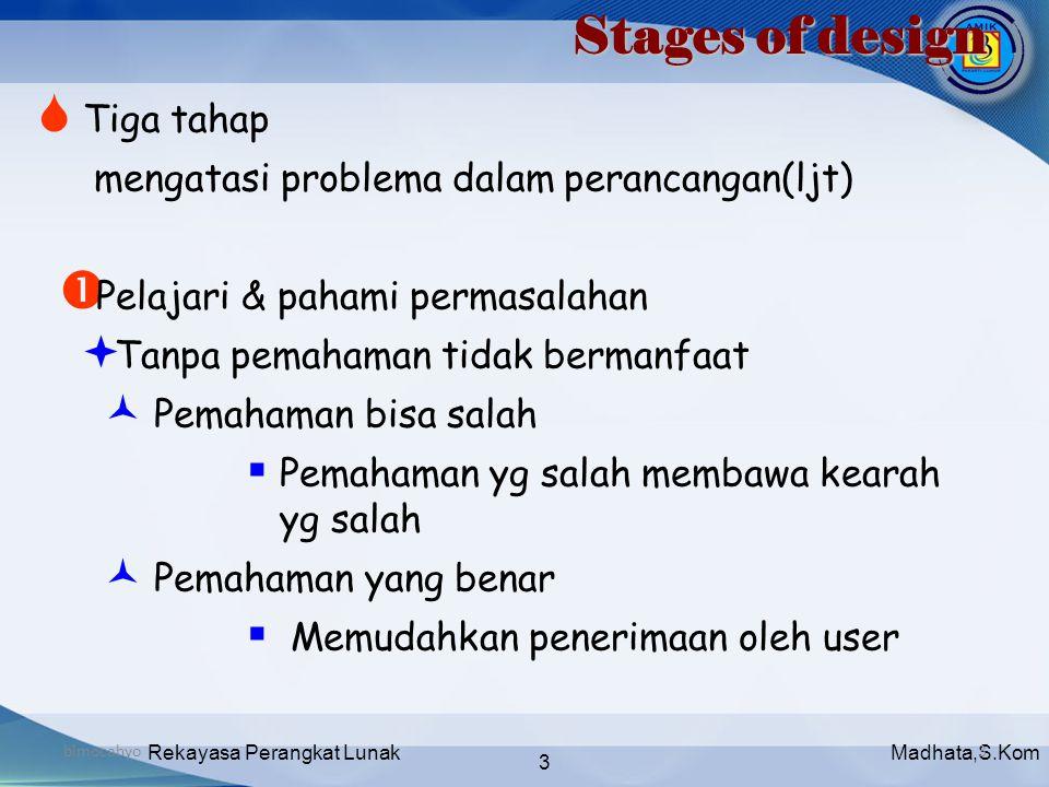 Madhata,S.KomRekayasa Perangkat Lunak 3 bimocahyo3 Stages of design  Tiga tahap mengatasi problema dalam perancangan(ljt)  Pelajari & pahami permasa