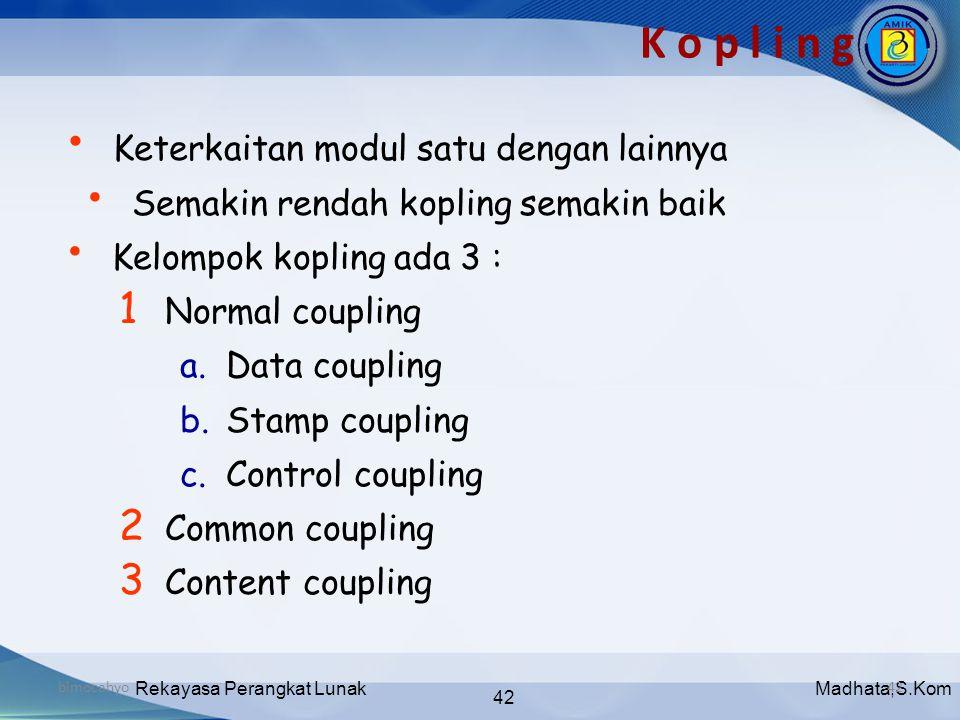 Madhata,S.KomRekayasa Perangkat Lunak 42 bimocahyo42 K o p l i n g • Keterkaitan modul satu dengan lainnya • Semakin rendah kopling semakin baik • Kel