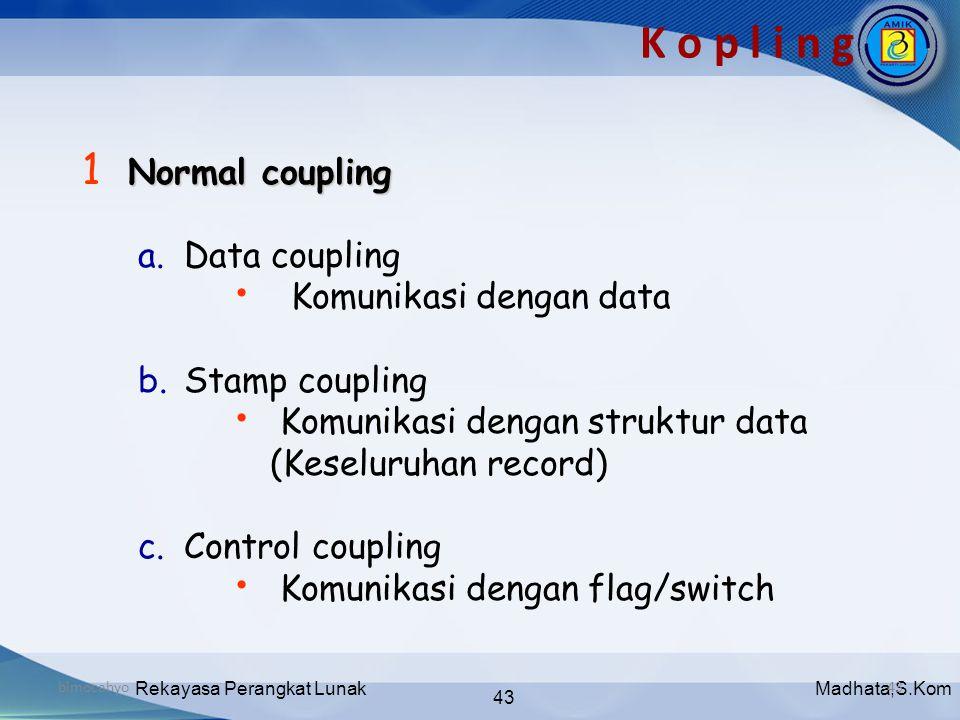 Madhata,S.KomRekayasa Perangkat Lunak 43 bimocahyo43 K o p l i n g Normal coupling 1 Normal coupling a. Data coupling • Komunikasi dengan data b. Stam