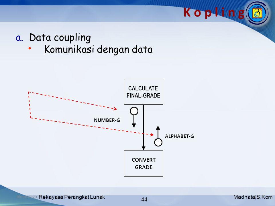 Madhata,S.KomRekayasa Perangkat Lunak 44 bimocahyo44 K o p l i n g a. Data coupling • Komunikasi dengan data CALCULATE FINAL-GRADE CONVERT GRADE ALPHA