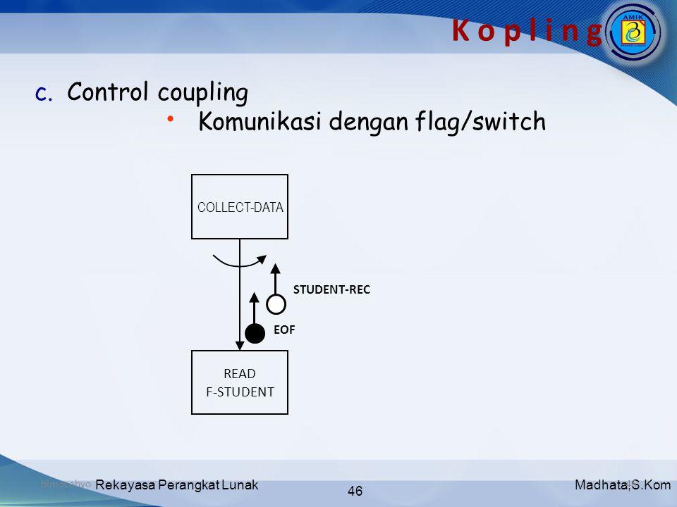 Madhata,S.KomRekayasa Perangkat Lunak 46 bimocahyo46 K o p l i n g c. Control coupling • Komunikasi dengan flag/switch COLLECT-DATA READ F-STUDENT STU