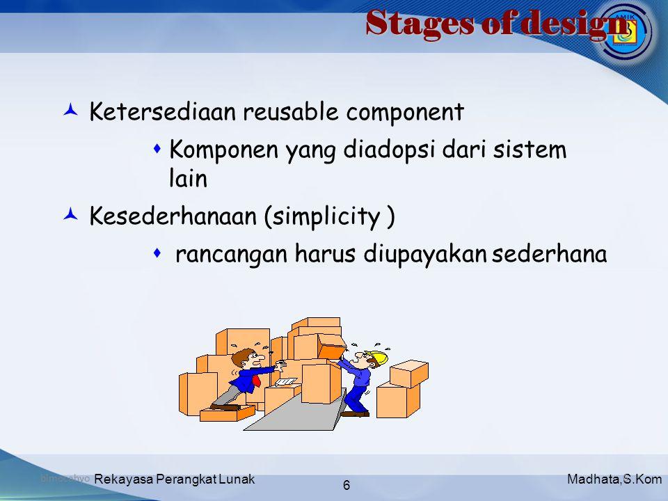Madhata,S.KomRekayasa Perangkat Lunak 6 bimocahyo6 Stages of design  Ketersediaan reusable component  Komponen yang diadopsi dari sistem lain  Kese
