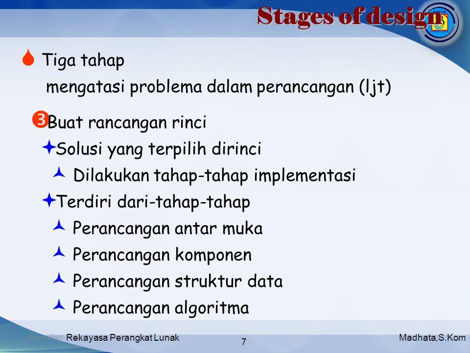 Madhata,S.KomRekayasa Perangkat Lunak 7 bimocahyo7 Stages of design  Tiga tahap mengatasi problema dalam perancangan (ljt)  Buat rancangan rinci  S