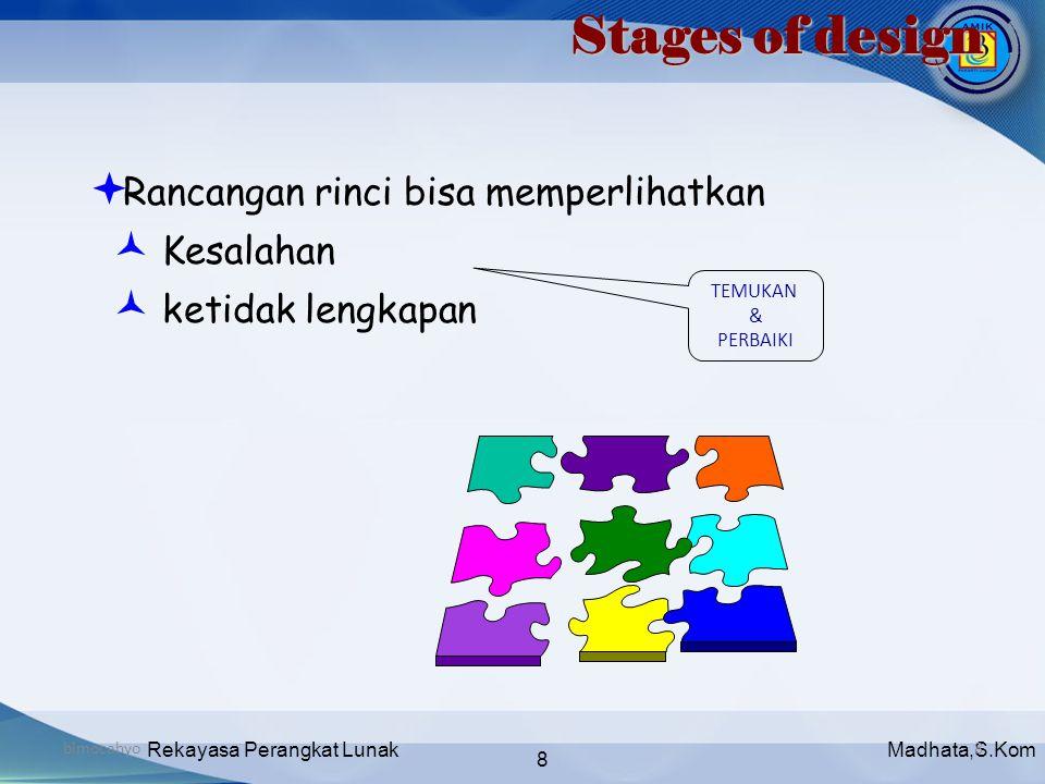 Madhata,S.KomRekayasa Perangkat Lunak 8 bimocahyo8 Stages of design  Rancangan rinci bisa memperlihatkan  Kesalahan  ketidak lengkapan TEMUKAN & PE