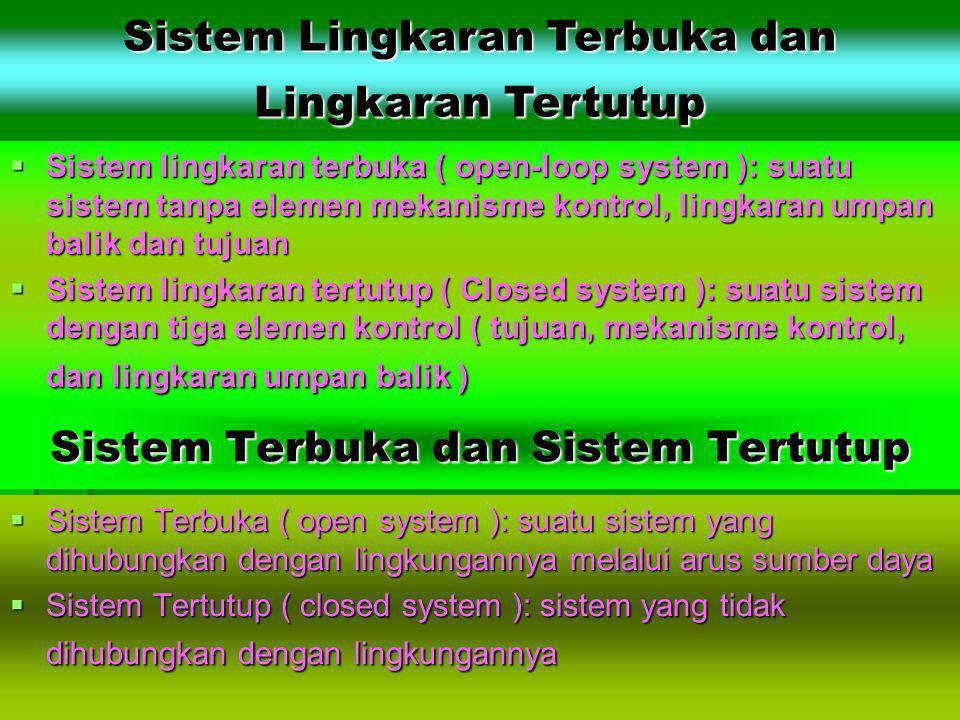 Sistem Terbuka dan Sistem Tertutup  Sistem Terbuka ( open system ): suatu sistem yang dihubungkan dengan lingkungannya melalui arus sumber daya  Sis