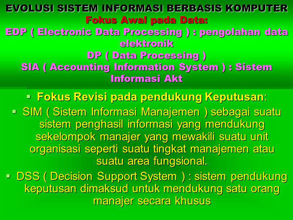 EVOLUSI SISTEM INFORMASI BERBASIS KOMPUTER Fokus Awal pada Data: EDP ( Electronic Data Processing ) : pengolahan data elektronik DP ( Data Processing