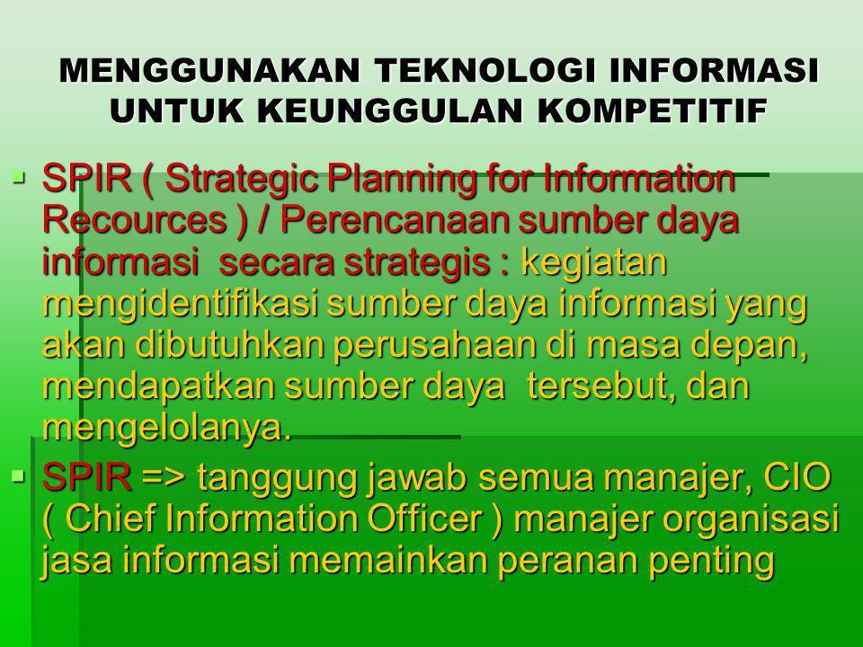 MENGGUNAKAN TEKNOLOGI INFORMASI UNTUK KEUNGGULAN KOMPETITIF  SPIR ( Strategic Planning for Information Recources ) / Perencanaan sumber daya informas