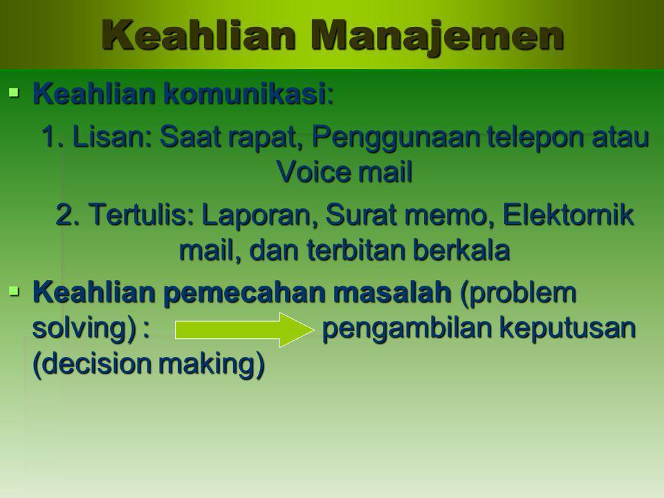 Keahlian Manajemen  Keahlian komunikasi: 1. Lisan: Saat rapat, Penggunaan telepon atau Voice mail 2. Tertulis: Laporan, Surat memo, Elektornik mail,