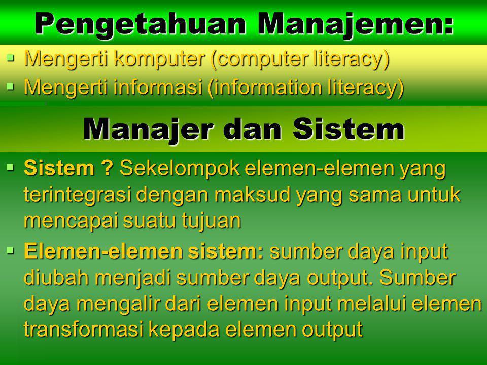 Jenis-jenis Sumber Daya Informasi  Perangkat keras komputer  Perangkat lunak komputer  Para spesialis informasi  Pemakai  Fasilitas  Database  Informasi