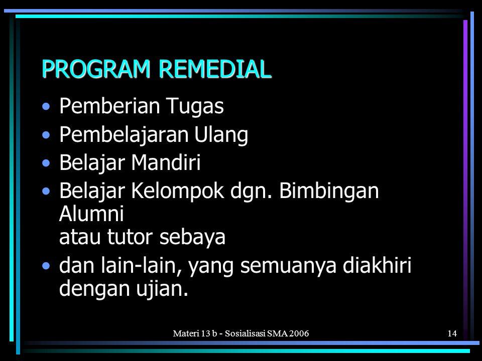 Materi 13 b - Sosialisasi SMA 200614 PROGRAM REMEDIAL •Pemberian Tugas •Pembelajaran Ulang •Belajar Mandiri •Belajar Kelompok dgn.