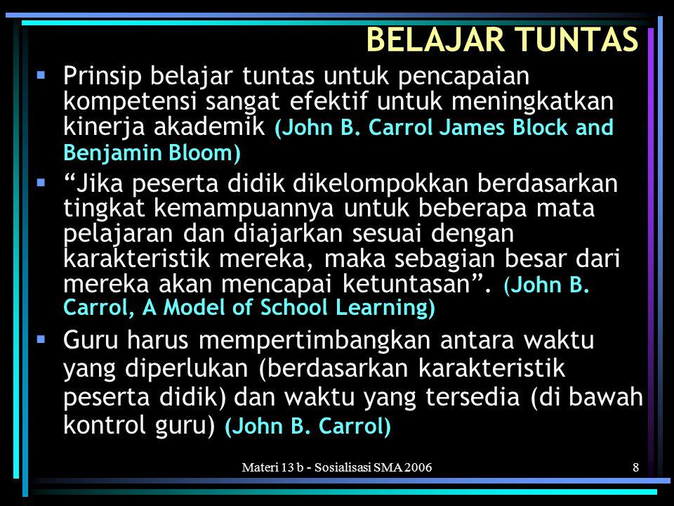 Materi 13 b - Sosialisasi SMA 20068 BELAJAR TUNTAS  Prinsip belajar tuntas untuk pencapaian kompetensi sangat efektif untuk meningkatkan kinerja akademik (John B.