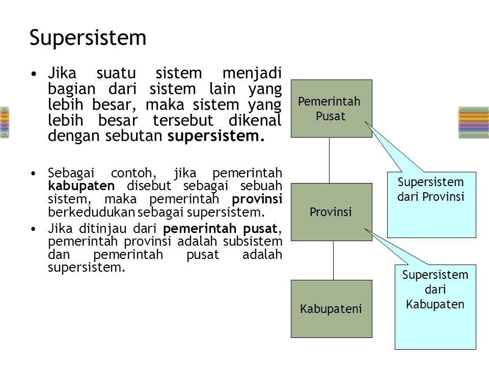 Supersistem •Jika suatu sistem menjadi bagian dari sistem lain yang lebih besar, maka sistem yang lebih besar tersebut dikenal dengan sebutan supersistem.