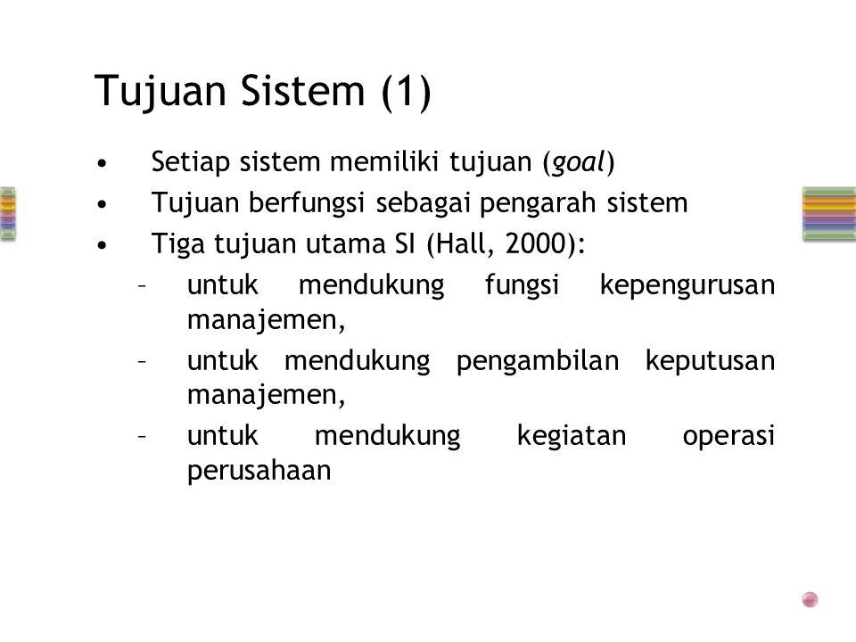 Tujuan Sistem (1) •Setiap sistem memiliki tujuan (goal) •Tujuan berfungsi sebagai pengarah sistem •Tiga tujuan utama SI (Hall, 2000): –untuk mendukung fungsi kepengurusan manajemen, –untuk mendukung pengambilan keputusan manajemen, –untuk mendukung kegiatan operasi perusahaan