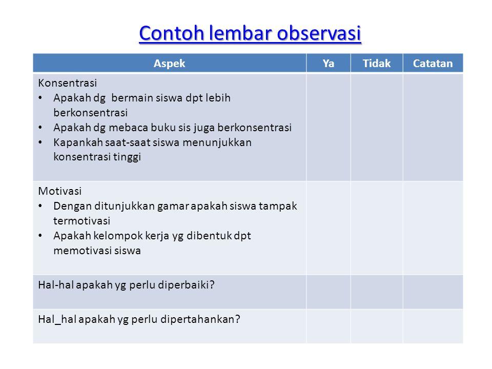 Contoh lembar observasi Contoh lembar observasi AspekYaTidakCatatan Konsentrasi • Apakah dg bermain siswa dpt lebih berkonsentrasi • Apakah dg mebaca