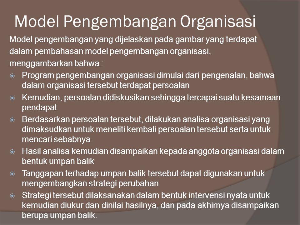 Model Pengembangan Organisasi Model pengembangan yang dijelaskan pada gambar yang terdapat dalam pembahasan model pengembangan organisasi, menggambark