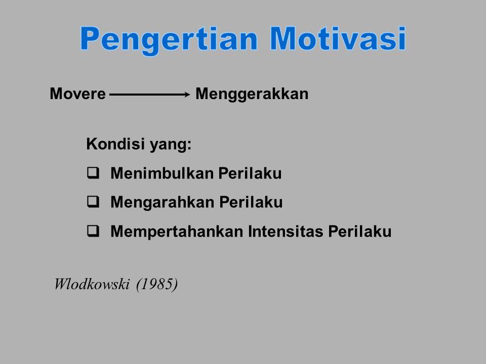 MovereMenggerakkan Kondisi yang: qMenimbulkan Perilaku q Mengarahkan Perilaku q Mempertahankan Intensitas Perilaku Wlodkowski (1985)