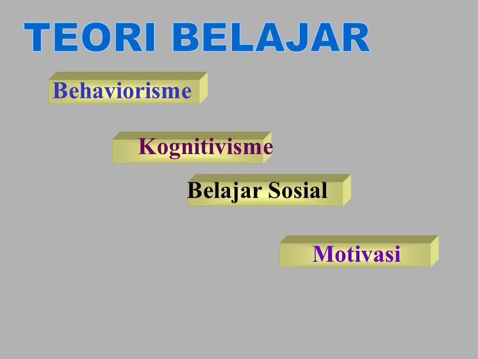 Behaviorisme •Belajar merupakan fungsi stimulus – response •Perubahan perilaku dipengaruhi oleh konsekuensi perilaku tersebut.