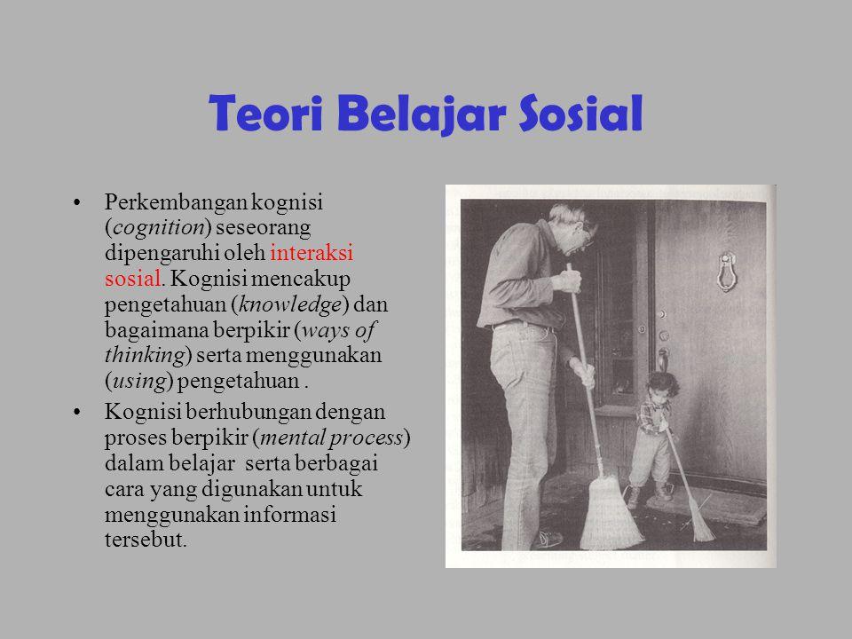 Teori Belajar Sosial •Perkembangan kognisi (cognition) seseorang dipengaruhi oleh interaksi sosial. Kognisi mencakup pengetahuan (knowledge) dan bagai