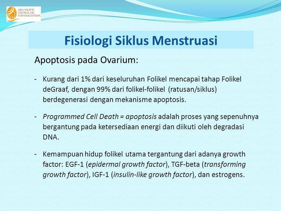 Fisiologi Siklus Menstruasi Apoptosis pada Ovarium: -Kurang dari 1% dari keseluruhan Folikel mencapai tahap Folikel deGraaf, dengan 99% dari folikel-folikel (ratusan/siklus) berdegenerasi dengan mekanisme apoptosis.