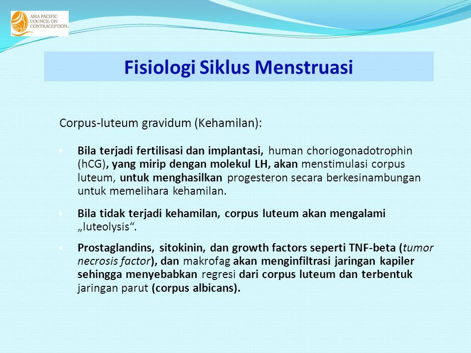 Corpus-luteum gravidum (Kehamilan): • Bila terjadi fertilisasi dan implantasi, human choriogonadotrophin (hCG), yang mirip dengan molekul LH, akan men