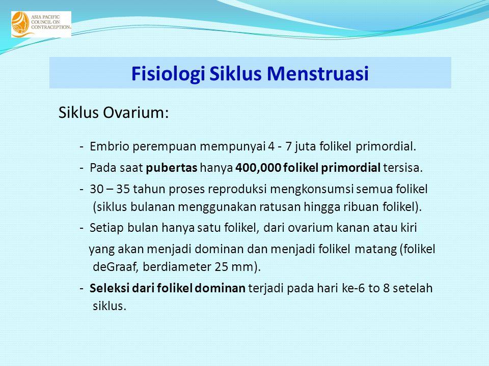 Siklus Ovarium: - Embrio perempuan mempunyai 4 - 7 juta folikel primordial. - Pada saat pubertas hanya 400,000 folikel primordial tersisa. - 30 – 35 t