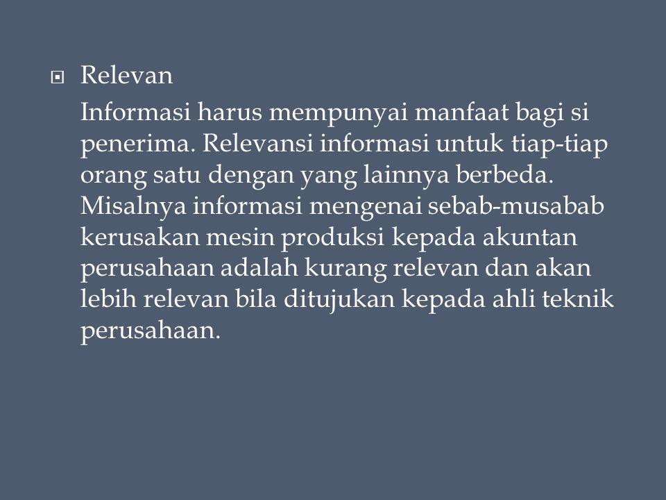  Relevan Informasi harus mempunyai manfaat bagi si penerima.