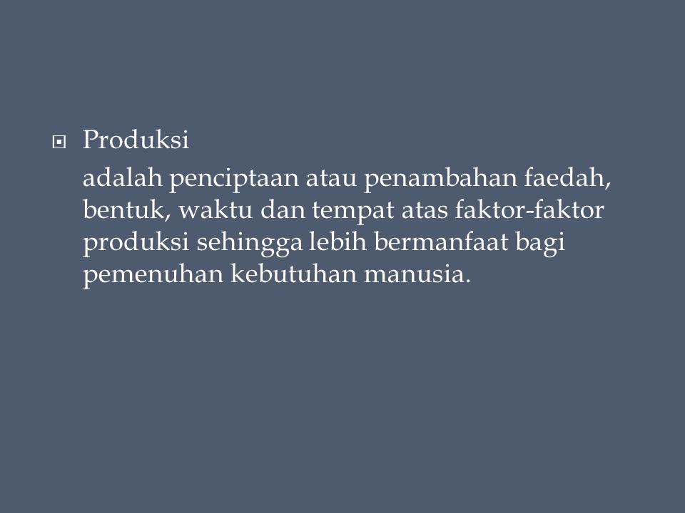  Produksi adalah penciptaan atau penambahan faedah, bentuk, waktu dan tempat atas faktor-faktor produksi sehingga lebih bermanfaat bagi pemenuhan kebutuhan manusia.