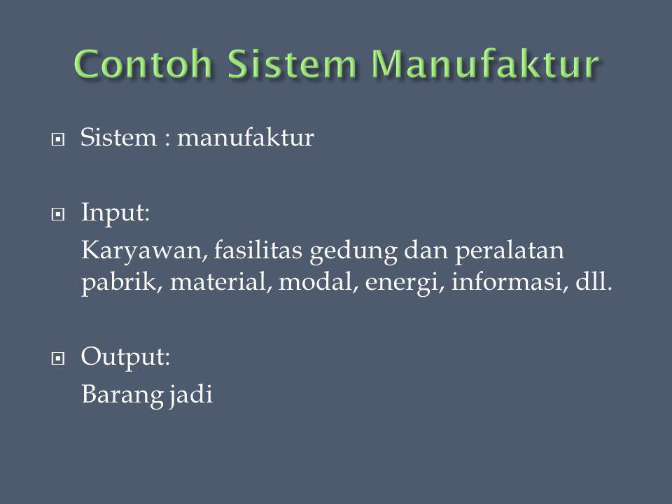  Sistem : manufaktur  Input: Karyawan, fasilitas gedung dan peralatan pabrik, material, modal, energi, informasi, dll.