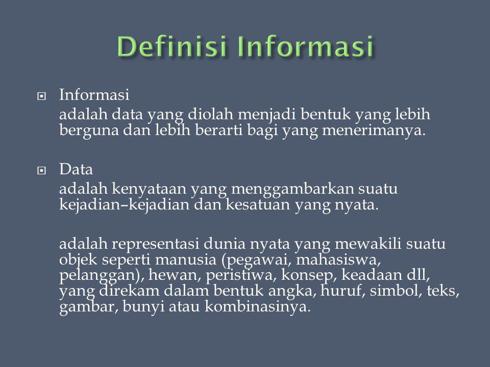  Informasi adalah data yang diolah menjadi bentuk yang lebih berguna dan lebih berarti bagi yang menerimanya.