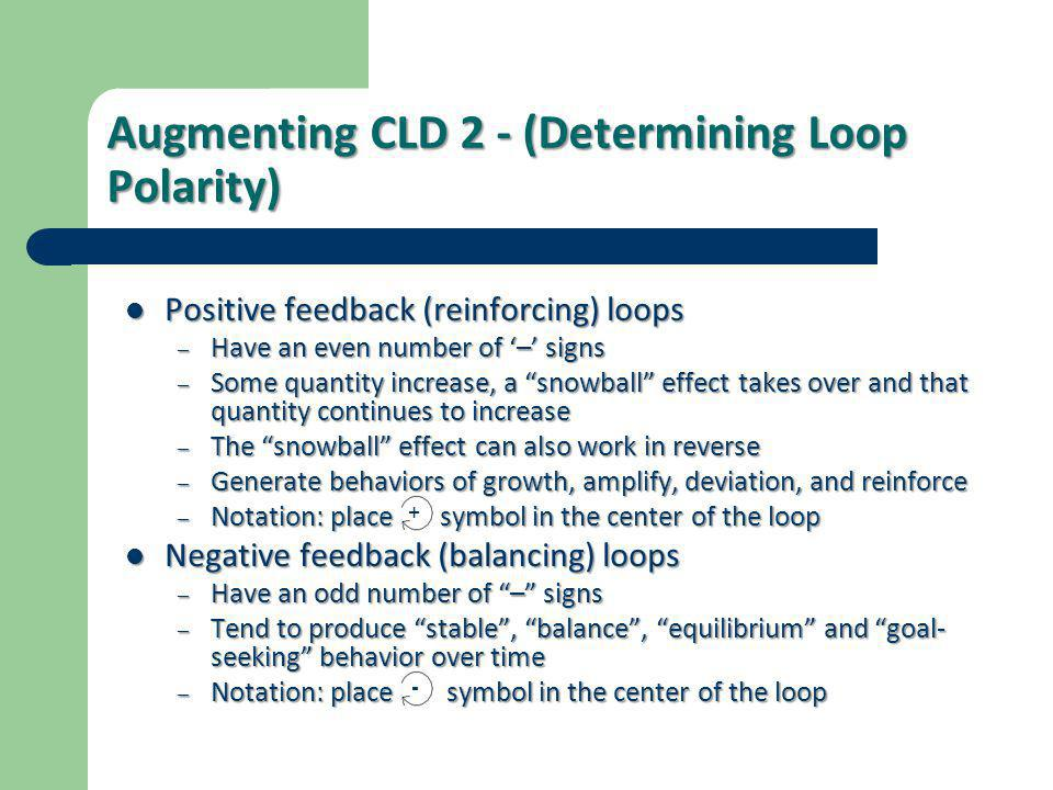 Augmenting CLD 2 - (Determining Loop Polarity)  Positive feedback (reinforcing) loops – Have an even number of '–' signs – Some quantity increase, a