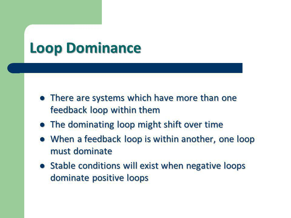Loop Dominance  There are systems which have more than one feedback loop within them  The dominating loop might shift over time  When a feedback lo