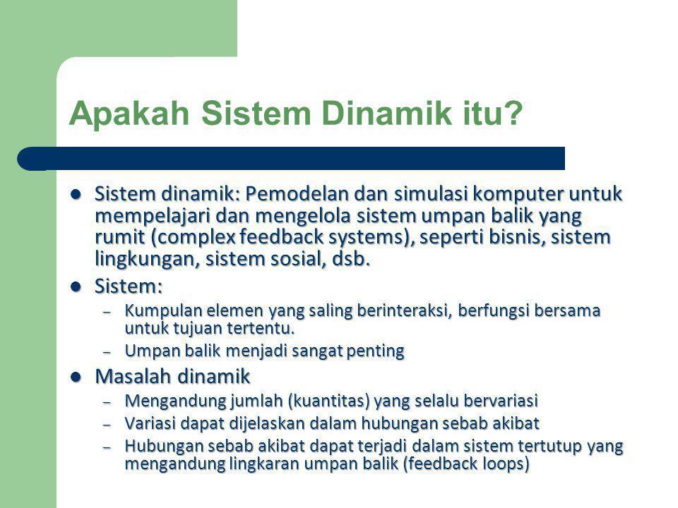 Sistem dinamik: Pemodelan dan simulasi komputer untuk mempelajari dan mengelola sistem umpan balik yang rumit (complex feedback systems), seperti bi