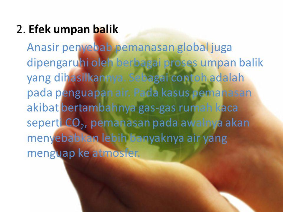 2. Efek umpan balik Anasir penyebab pemanasan global juga dipengaruhi oleh berbagai proses umpan balik yang dihasilkannya. Sebagai contoh adalah pada
