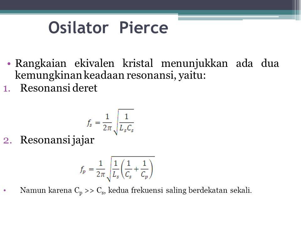 Osilator Pierce •Rangkaian ekivalen kristal menunjukkan ada dua kemungkinan keadaan resonansi, yaitu: 1.Resonansi deret 2.Resonansi jajar •Namun karen