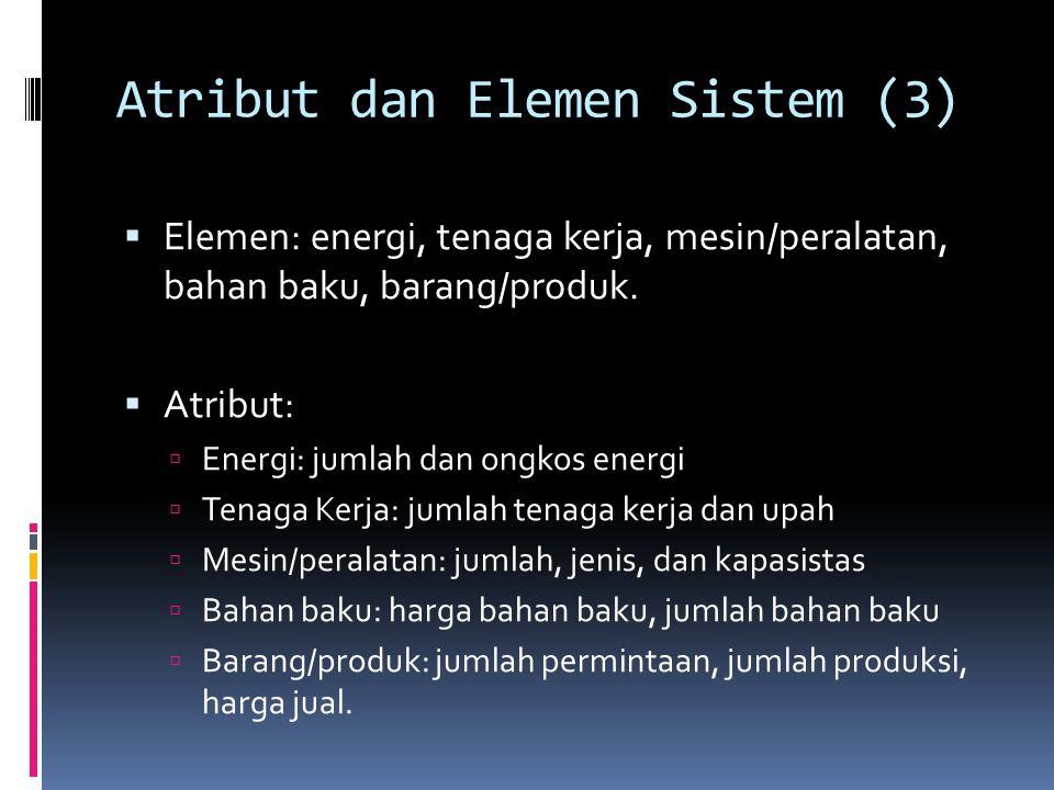 Atribut dan Elemen Sistem (3)  Elemen: energi, tenaga kerja, mesin/peralatan, bahan baku, barang/produk.  Atribut:  Energi: jumlah dan ongkos energ