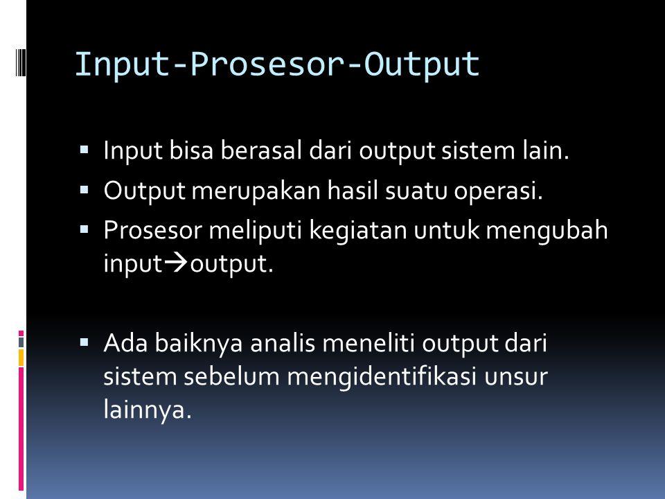 Input-Prosesor-Output  Input bisa berasal dari output sistem lain.  Output merupakan hasil suatu operasi.  Prosesor meliputi kegiatan untuk menguba