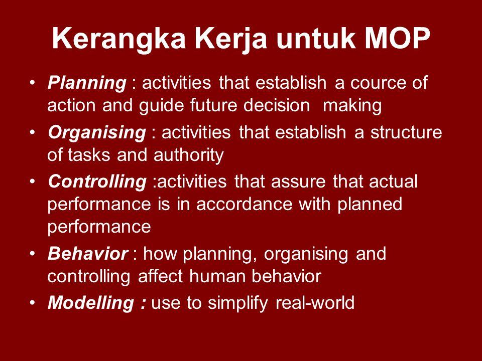 Kerangka Kerja untuk MOP •Planning : activities that establish a cource of action and guide future decision making •Organising : activities that estab