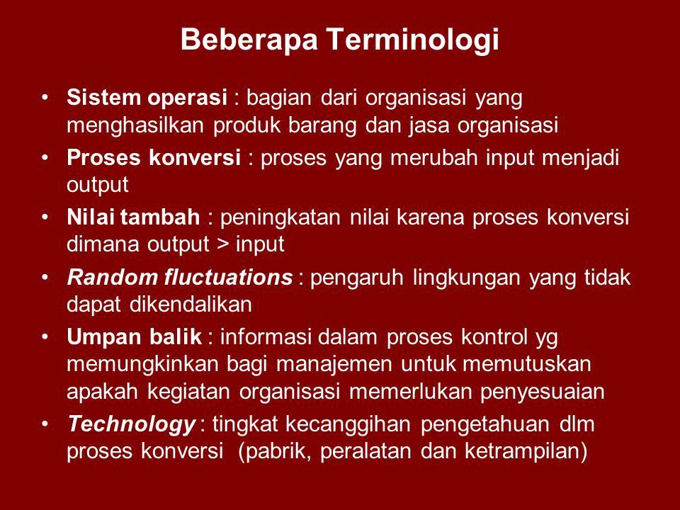 Beberapa Terminologi •Sistem operasi : bagian dari organisasi yang menghasilkan produk barang dan jasa organisasi •Proses konversi : proses yang merub