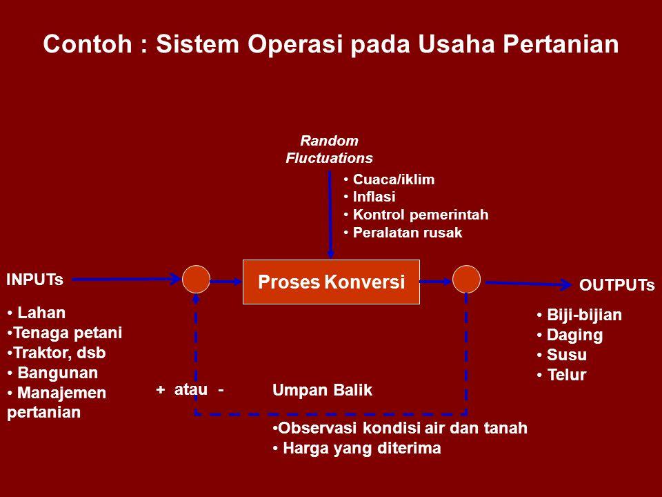 Contoh : Sistem Operasi pada Usaha Pertanian Proses Konversi INPUTs OUTPUTs Random Fluctuations • Lahan •Tenaga petani •Traktor, dsb • Bangunan • Mana