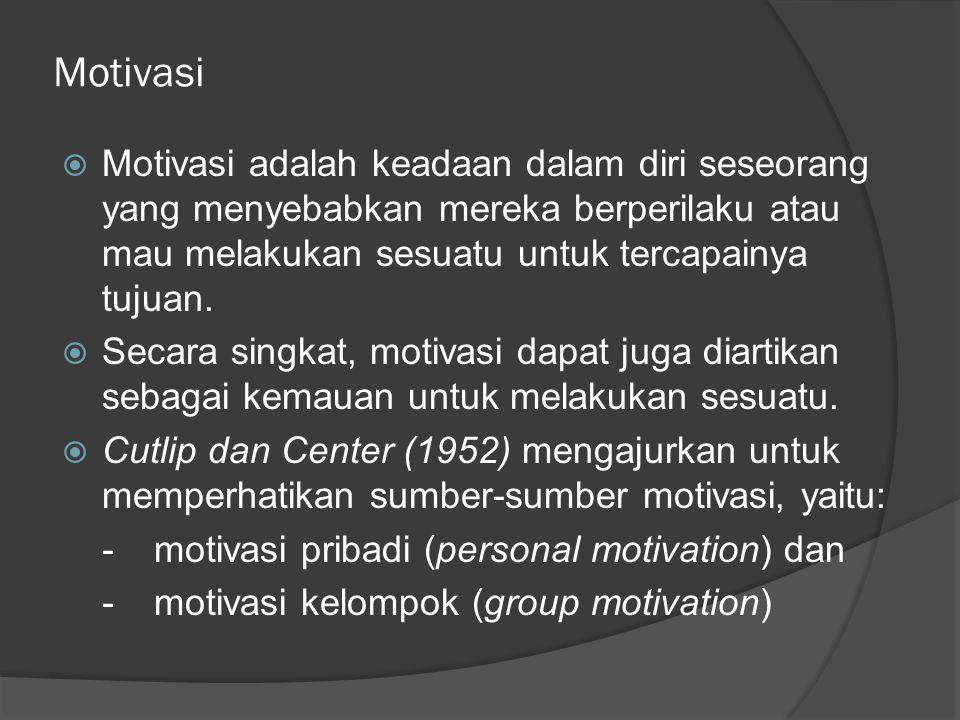 Motivasi Pribadi  Motivasi pribadi berkaitan langsung dengan keadaan, daya nalar dan sikap diri dari orang (individu) yang bersangkutan saja.