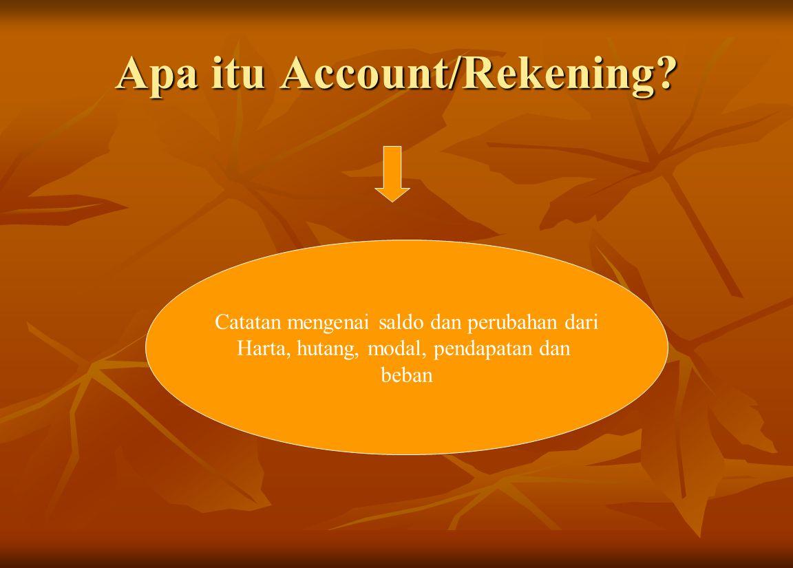 Apa itu Account/Rekening? Catatan mengenai saldo dan perubahan dari Harta, hutang, modal, pendapatan dan beban